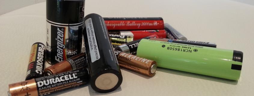 AAA single use Alkaline, 8650 Lithium-ion rechargeable & C Alkaline single use batteries